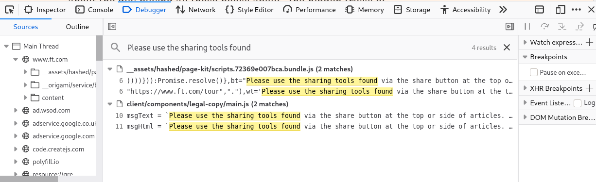 firefox devtools search