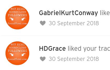 Screenshot of soundcloud notifications of accounts 'liking' tracks whose profile pictures say 'Buy real soundcloud followers'